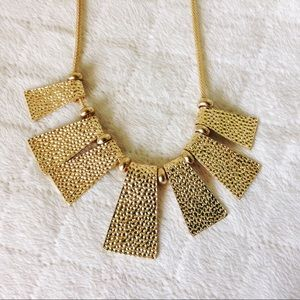 goldtone square texture necklace and earrings NWT